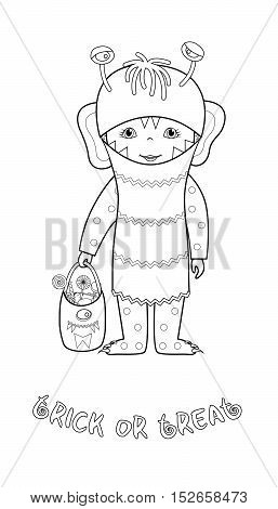 Trick or treat halloween cartoon vector coloring page with cute kid in monster costume with bag full of sweets