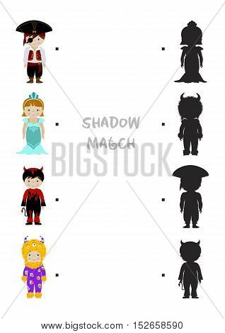 Halloween themed logic shadow matching game for kids, Choose correct dress shadow for children dressed in costumes of monster, pirate, mermaid and devil. A4 format ready for print.