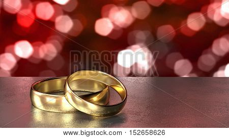 Two golden wedding rings on a grey stone table in front of a shiny bokeh background in red 3D illustration
