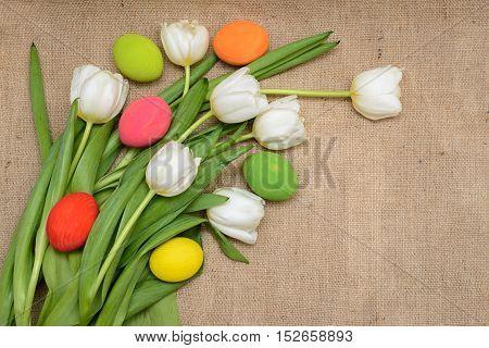 Tulips on sackcloth - Season Background Frame