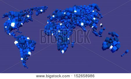 Glowing world map made of blue boxes with white nodes in different sizes big data network 3D illustration concept