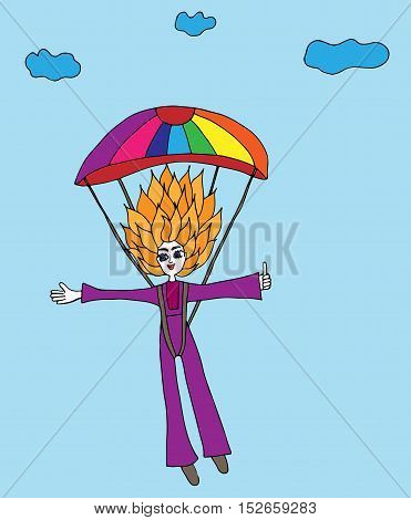 Colorful girl jumps with a parachute on a background clouds. For banners labels badges prints posters web. Vector illustration.