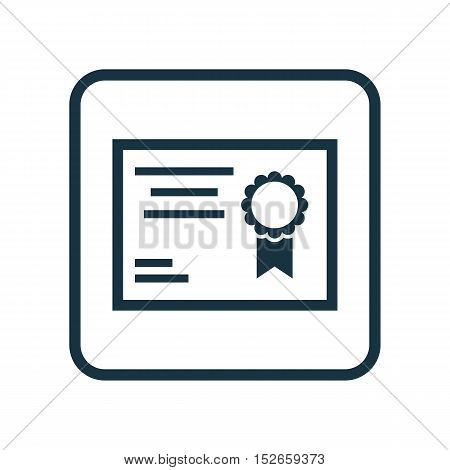 Vector Illustration Of Education Symbol On Diploma Icon. Premium Quality Isolated Certificate Icon E