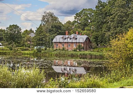 beautiful old house on the lake in Poland Bialowieza