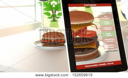 Hamburger on a plate on an office desk seen through an app on a tablet splitting the burger showing all calories of the ingredients augmented reality concept 3D illustration