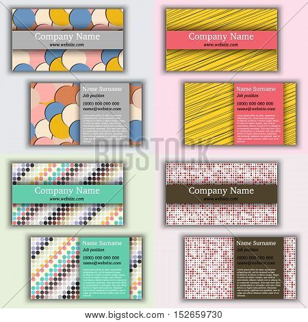 Set of vector vintage business card. Front page and back page.