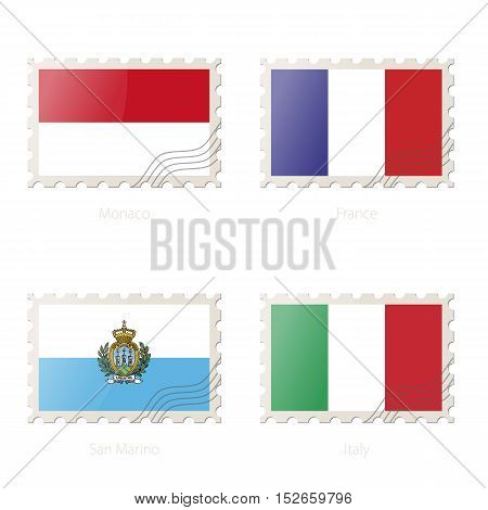 Postage Stamp With The Image Of Monaco, France, San Marino, Italy Flag.