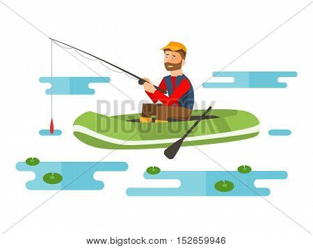 Fisherman in a boat with a fishing rod. Hobby. Recreation