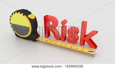 Tape placed next to the red word risk measure concept 3D illustration on white