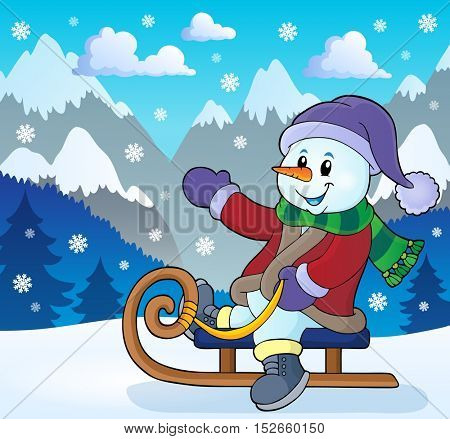Snowman on sledge theme image 3 - eps10 vector illustration.
