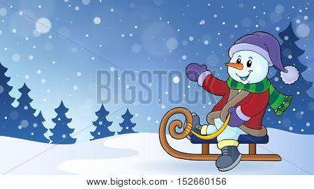 Snowman on sledge theme image 2 - eps10 vector illustration.