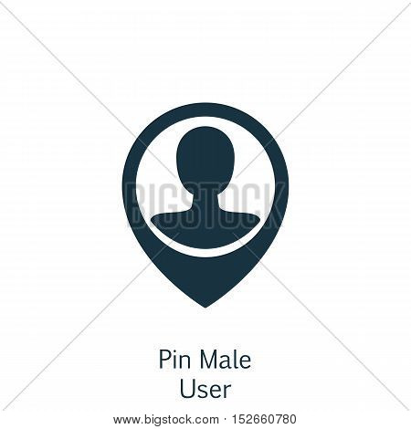 Vector Illustration Of Human Resources Symbol On Pin Male User Icon. Premium Quality Isolated Employ