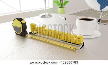 Tape placed next to the word performance measure performance concept 3D illustration in an office environment