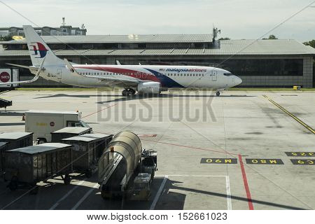 KUALA LUMPUR,MALAYSIA- SEPTEMBER19,2016:Boeing 737-800 Malaysia Airline aircraft ready to take off from KLIA.MAB is a major airline operating flight from KLIA to destinations throughout Asia & Europe.