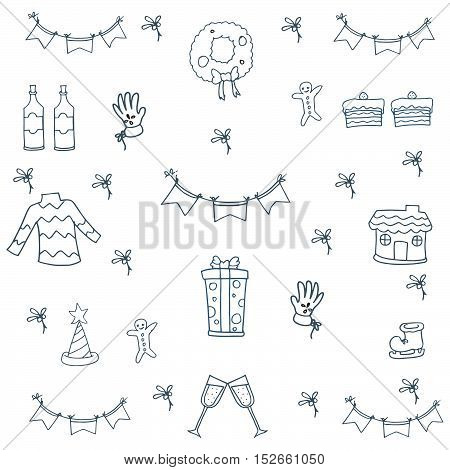 Doodle of christmas set flat hand draw vector illustration