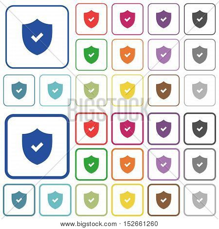Set of active security flat rounded square framed color icons on white background. Thin and thick versions included.