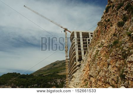 Construction Of The Hotel In The Rock By The Sea