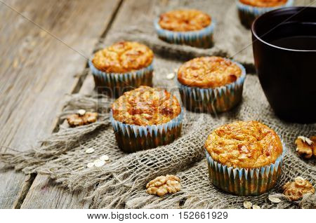 healthy walnuts dried apricots carrot oats muffins