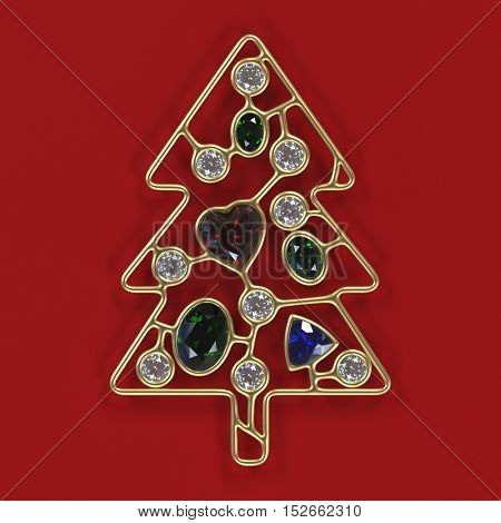 3d illustration of golden Christmas tree with diamonds, oval emeralds and heart shape ruby, treasure Xmas, 3d Christmas concept, Xmas card template