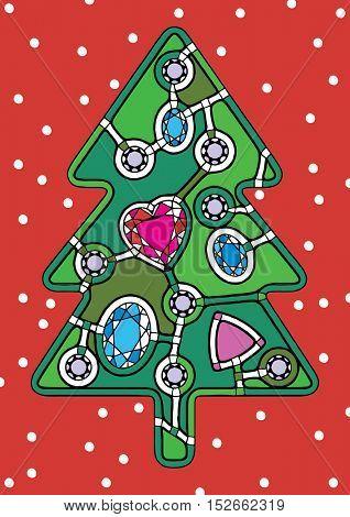 abstract Xmas tree, pop-art Christmas illustration, decorative Xmas card