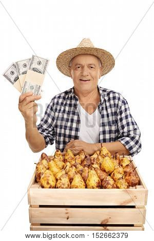 Mature agricultural worker posing with a crate full of pears and bundles of money isolated on white background