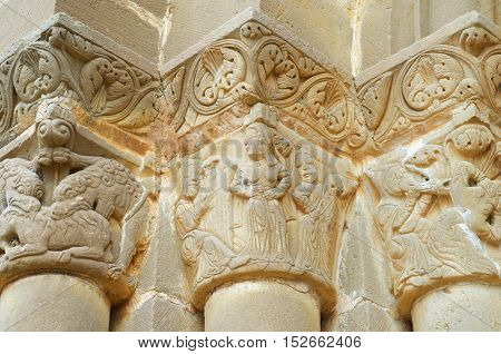 Closeup of the capitals in Santiago Church in Aguero, Huesca province, Aragon, Spain.