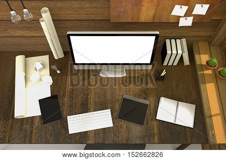 3D Rendering : illustration of modern creative workplace.PC monitor on wooden table and wooden room.translucent curtain and glass window with sunlight shining from the outside.clipping path included