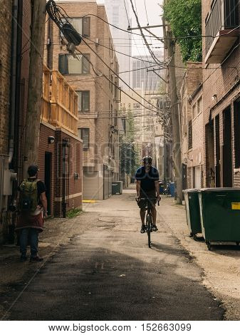 Chicago USA - September 25 2015: Bicycle and tourist on a lane.