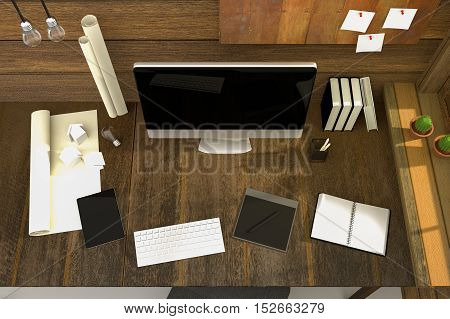 3D Rendering : illustration of modern creative workplace.PC monitor on wooden table and wooden room.translucent curtain and glass window with sunlight shining from the outside