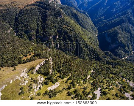 Aerial nature landscape of mountain valley. Russia.