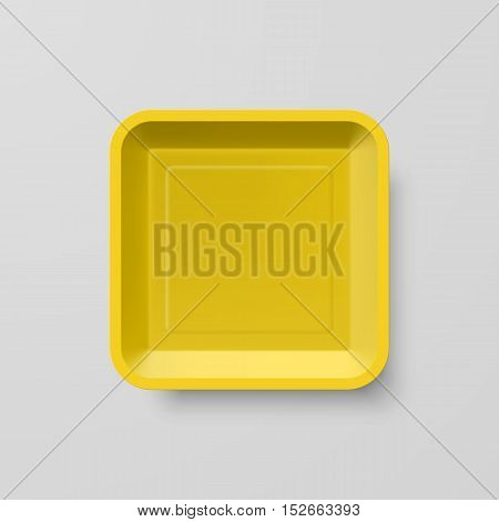 Empty Yellow Plastic Food Square Container on Gray Background