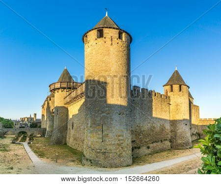 View at the Chateau Comtal in Old City of Carcassonne in France