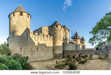 View at the Chateau Comtal of Carcassonne in France