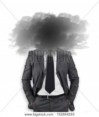 Businessman with head in the clouds on white background.