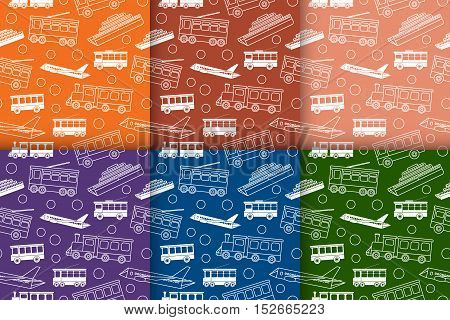 Set of seamless patterns with different types of transport - bus tram trolleybus train ship and airplane in retro colors. Line objects in flat style. Vector illustration.