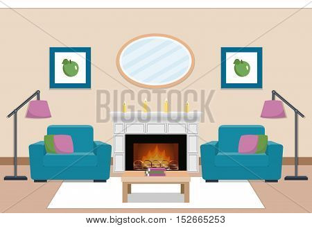 The interior of cozy living room with two armchairs and chimney. Vector illustration.