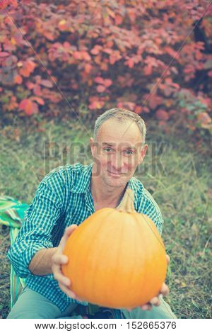Smiling man holds a pumpkin in hands gives it to others on the background of colorful autumn leaves. Toned image.