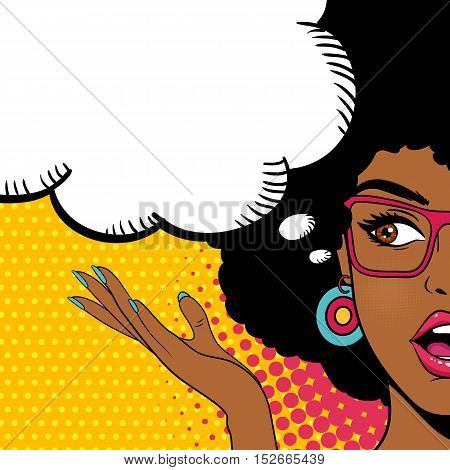 Sexy Surprised Afro American Woman Looking To The Side With Open Mouth And Speech Bubble. Vector Bac