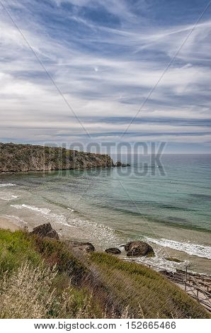 A view of one of the beaches by cliffs at Makrygialos on the Greek island of Crete.