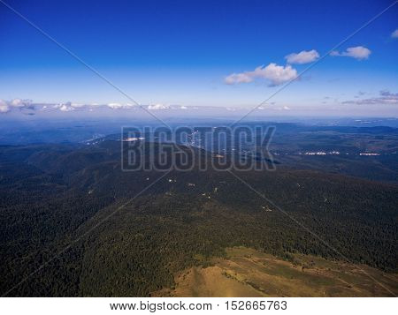 Aerial View. Wilderness Landscape On A Blue Sky.