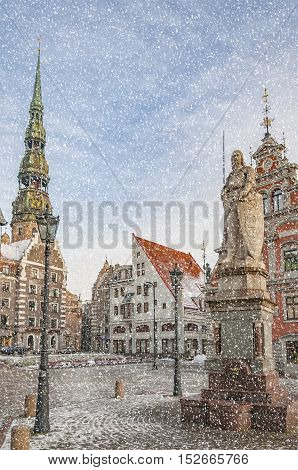 Snow starts to fall in the Latvian capital of Riga.