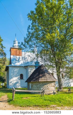 Greek Catholic church  in Lopienka, village in Bieszczady mountains in East-south Poland.