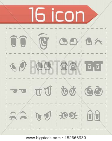 Vector Cartoon eyes icon set on grey background