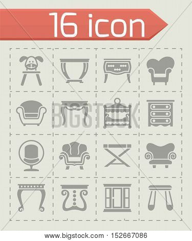 Vector Furniture icon set on grey background