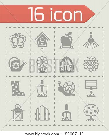 Vector Gardening icon set on grey background