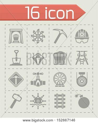 Vector Mining icon set on grey background