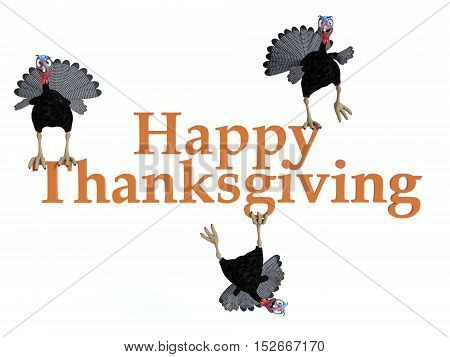 Three funny silly looking cartoon turkeys sitting and hanging on the text
