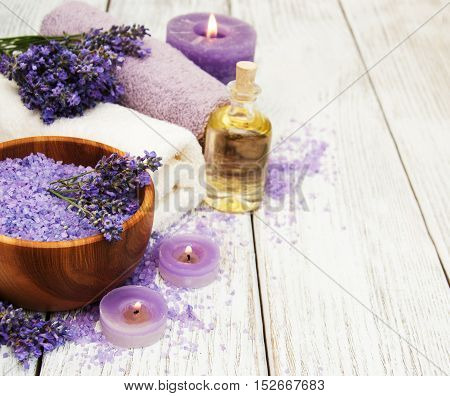Spa Products And Lavender Flowers