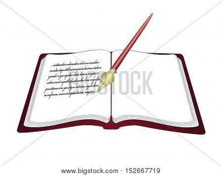 Vector open book with pen - web icon