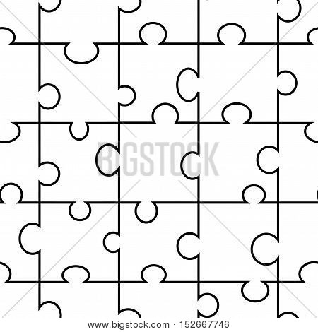 Vector seamless puzzle - original black white background